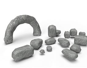 low-poly 15 x Realistic Low Poly 3D PBR Rocks with 2 1
