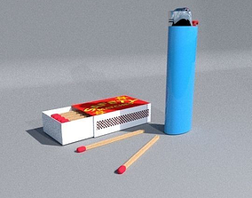 Lighter And Box of Matches 3D model
