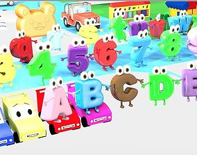 Alphabet ABC Character Letters Low--poly