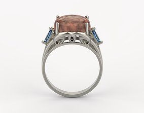 Women ring with cabochon and gems 3dm stl vintage