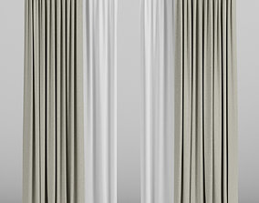 Beige curtains with tulle 3D