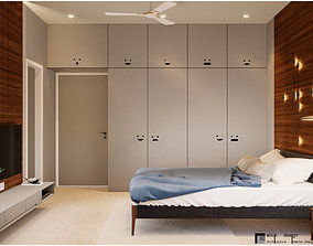 bench Modern Master Bedroom 3D model- corona render