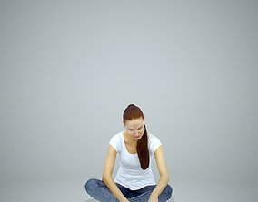 Casual Woman Sitting on the Floor CWom0311-HD2-O01P01-S 3D