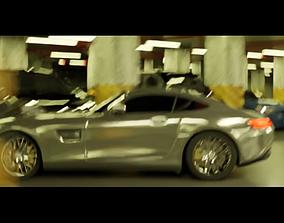 Underground Parking Basement Mall Car Drift Scene 3D model