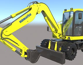 Komatsu Wheeled Excavator VRay PBR 3D