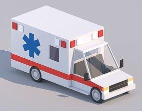 Cartoon Low Poly Car Ambulance 3D asset