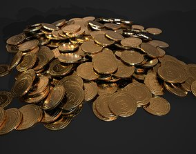 Bitcoin crypto currency - 3 piles - 1 stack - 1 3D model