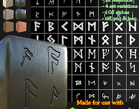 Ancient Norse Rune set Height map Alpha Brushes decals 3D