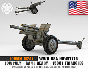 Low Poly 105 mm M2A1 howitzer 3D model