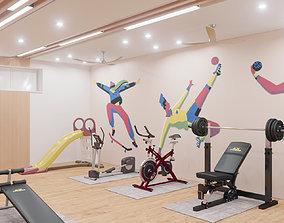 Interior Gym Room 01 3D model