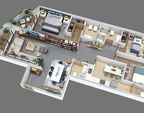 bedroom 3d floorplan Z