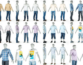 9 Casual Male Outfits V5 3D