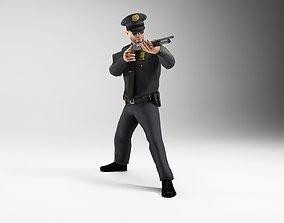 3D model polieman gun in hand ready to shoot low 3