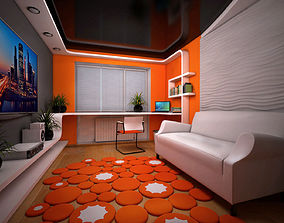 Room design in orange colour 3D
