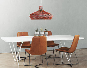 CB2 Dylan Dining table set 3D model