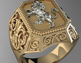 3D print model signet ring with heraldic lion