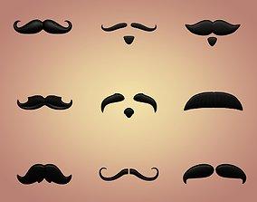 3D asset Cartoon Mustaches Pack