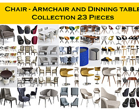 Chair - Armchair and Dinning table Collection 23 Pieces 3D