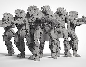 3D printable model Sci Fi Battle Armor Miniatures - 3