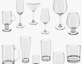collection 3D model Set of glasses - glass set