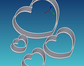 Set of four hearts cookie cutters 3D printable model