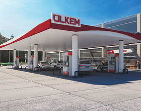 gasoline Gas Station 3D Model