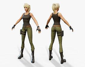 Cartoon Army Girl 3D asset