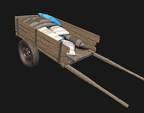 Low Poly PBR Wooden Cart with Sacks 3D model