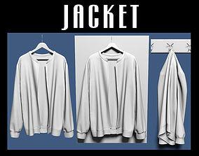 Jacket on hanger and coat rack 3D model