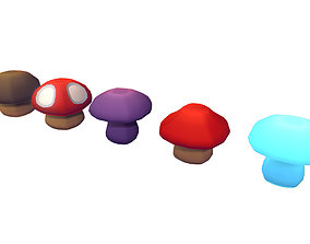 Cube World Mushrooms - Proto Series 3D model game-ready