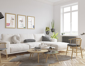 game-ready Scandinavian Living Room 3D Model Vray 3