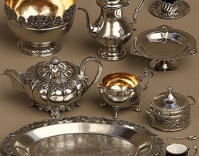 Lowpoly 9 items Silver service set 3D model