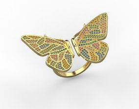Women ring butterfly with gems 3dm stl CAD