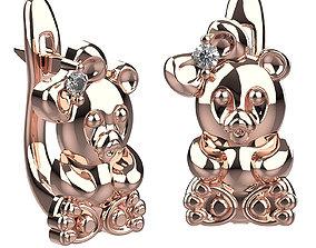 3D print model earrings panda girl