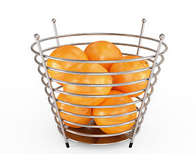 3D model Chrome Wire Fruit Basket with Oranges