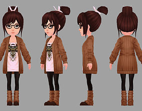 Anime 3D Model Girl animated