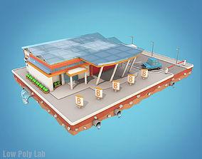 Cartoon City Block Supermarket 3D asset