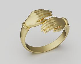 gold 3D print model Hands ring