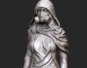 woman in gas mask stl and high poly 3D print model
