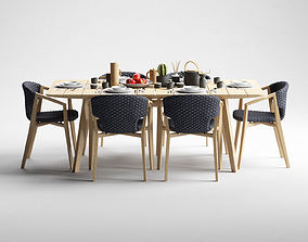 Ethimo Knit dining armchair and rectangular table 3D