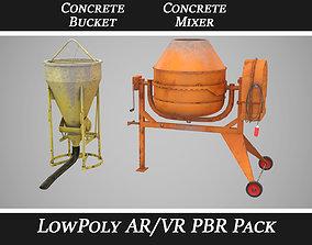 3D model Concrete Mixer and Concrete Bucket pack