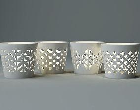 White Candle Holder Set 3D model