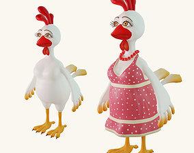 3D asset Stylized cartoon chicken