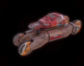 3D model Low poly sci fi speedy tank combat unit asset