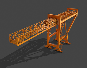 3D asset PBR Port Container Crane - Yellow Dark