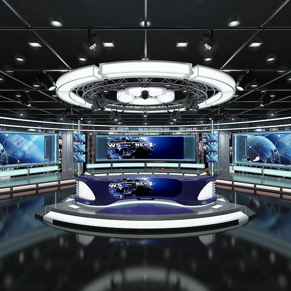 Virtual TV Studio News Set 1 - 3d Models