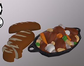 3D model Stylized Main Course Chickan