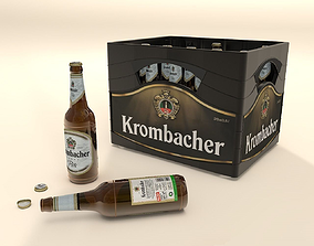 Krombacher Beer box with bottles 3D model