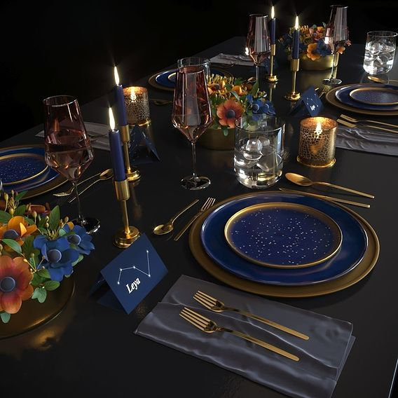 Table setting Blue night