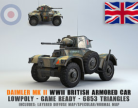 3D asset Low Poly Daimler MK II armored car